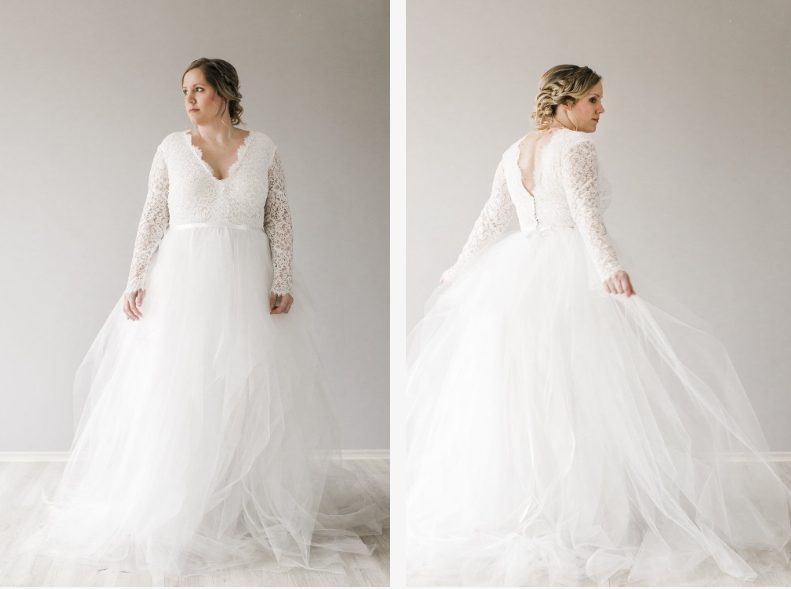 Daalarna esküvői ruhák kerekded menyasszonyok számára a kölni Victoria Rüsche szalonban