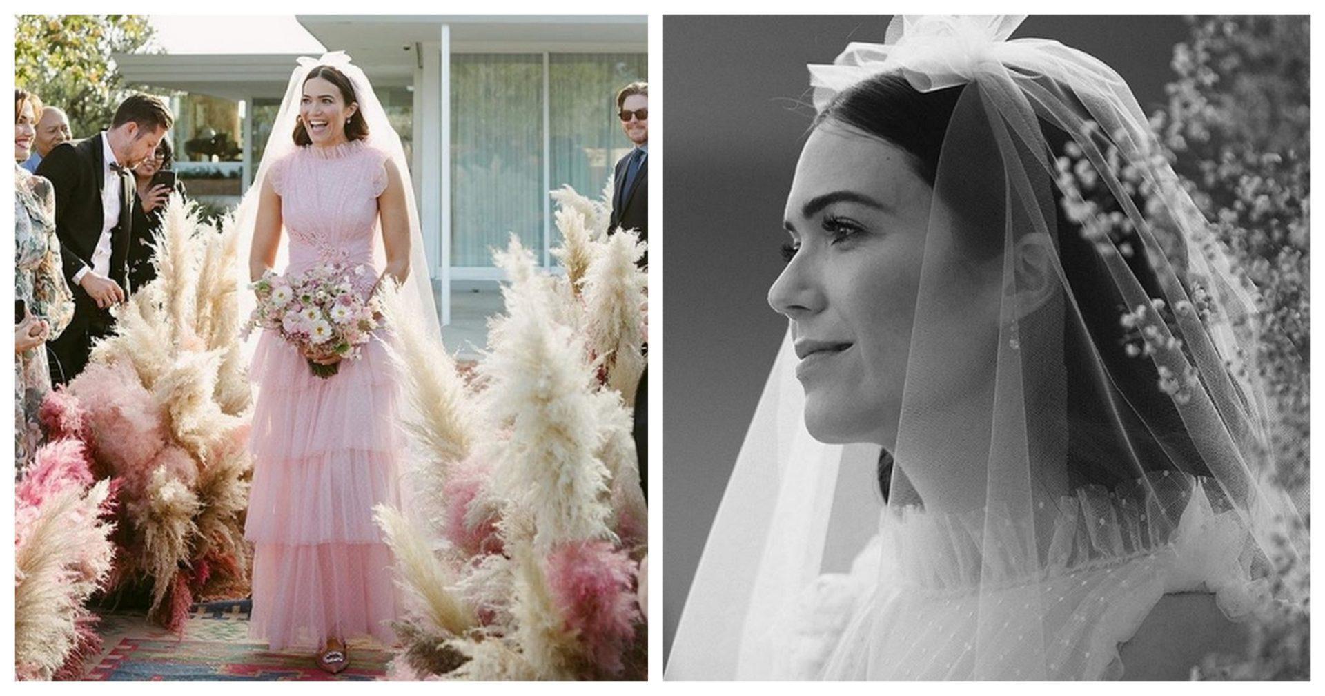 Mandy Moore rózsaszín esküvői ruhája